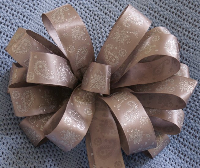 SILVER WITH GLITTER - CHRISTMAS WREATH, SWAG, GARLAND OR PESENT BOWS (3 BOWS/PACKAGE)