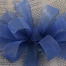 BLUE SHEER RIBBON - CHRISTMAS WREATH, SWAG, GARLAND OR PRESENT BOWS (3 BOWS/PACKAGE)