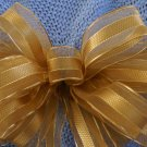 ELEGANT GOLD SHEER RIBBON - CHRISTMAS WREATH, SWAG, GARLAND OR PRESENT BOW (1 BOW/PACKAGE)