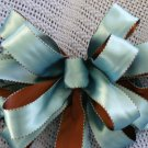 TURQUOISE & CHOCOLATE - CHRISTMAS WREATH, SWAG, GARLAND OR PRESENT BOWS (3 BOWS/PACKAGE)