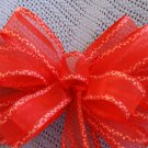 RED SHEER W/ CANDY CANE BORDER - CHRISTMAS WREATH, SWAG, GARLAND OR PRESENT BOWS (3 BOWS/PACKAGE)