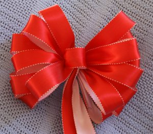 RED & PINK SATIN  - CHRISTMAS WREATH, SWAG, GARLAND OR PRESENT BOWS (3 BOWS/PACKAGE)