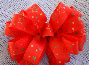 RED W/ MULTI-COLORED STARS - CHRISTMAS WREATH, SWAG, GARLAND OR PRESENT BOWS (3 BOWS/PACKAGE)