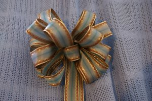 TURQUOISE & BROWN STRIPE  - CHRISTMAS WREATH, SWAG, GARLAND OR PRESENT BOWS (3 BOWS/PACKAGE)