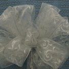 WHITE SHEER - CHRISTMAS WREATH, SWAG, GARLAND OR PRESENT BOWS (3 BOWS/PACKAGE)