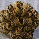 GOLD SHEER & BLACK LEAF- CHRISTMAS TREE TOPPER BOW