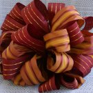 BURGUNDY & GOLD STRIPES - CHRISTMAS TREE TOPPER BOW