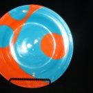 RARE Rock Vineyard Porcelain (Rios Assoc) Teal Blue/Bright Orange Dinner Plate