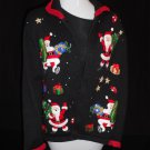 Heirloom Collectibles Black UGLY CHRISTMAS HOLIDAY SANTAS KNIT SWEATER WOMEN LG