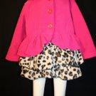 MACK & CO Toddler Girl 2T Hot Pink Leopard Print Soft Fleece Jacket/Coat Dress