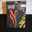"American Biker LIVE FREE Black w/orange Flames & Eagle Bandanna 22"" x 22"" NEW"
