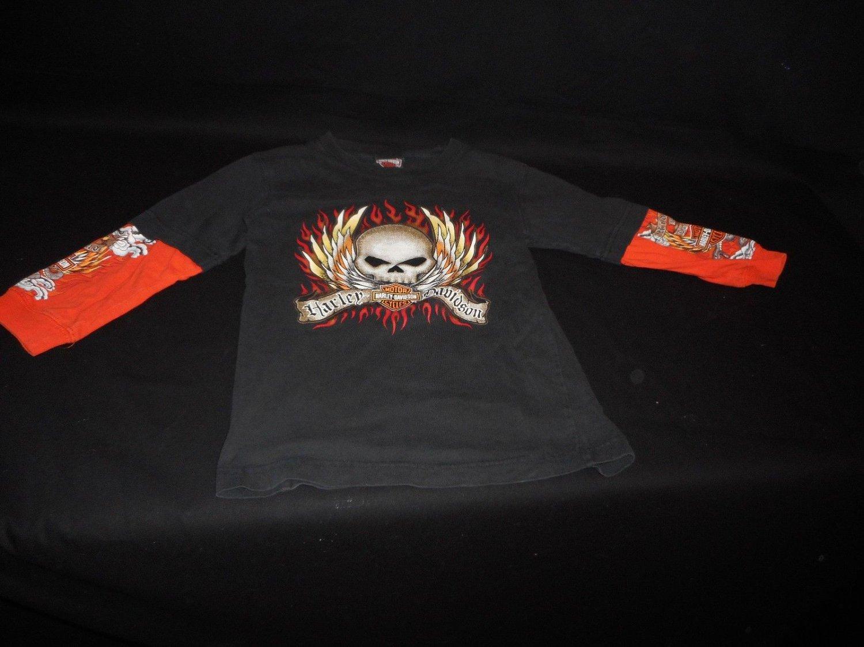 Harley Davidson Kid's Black t-shirt Skeleton Halloween sz 6
