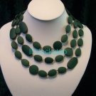 stunning beautiful wooden green 3 rows necklace