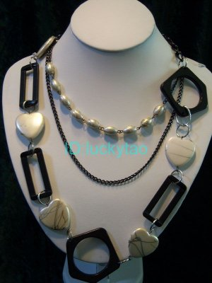 stunning noblest round & square with many chandelier necklace
