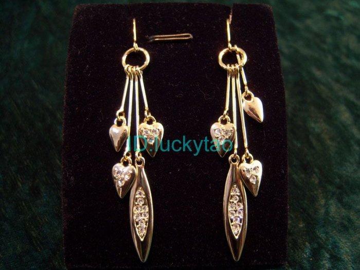 Stunning sparking heart shaped chandelier earrings
