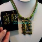 noblest minority folk green rope necklace & earrings set