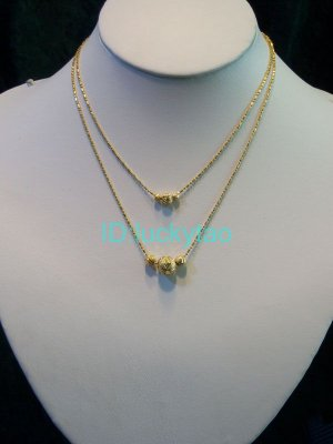 noblest stunning golden 2 rows refined necklace