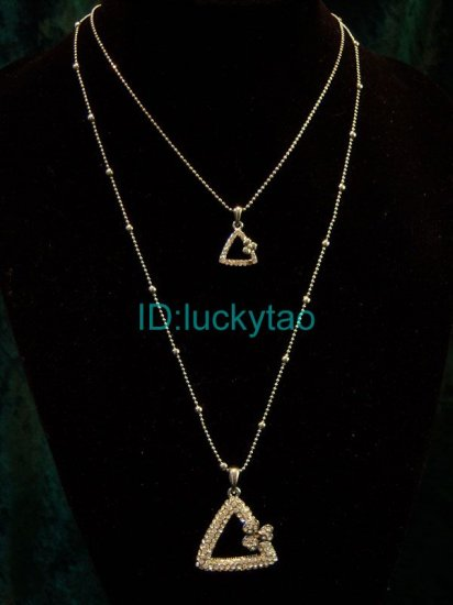Excellent  refined triangle beautifully silver 2 rows necklace