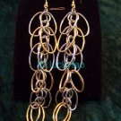 stunning exquisite beautiful silver golden earrings pair