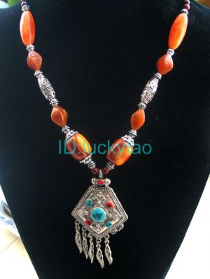 China Tibet Silver Amber Featured Necklace