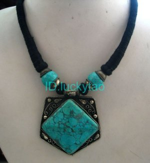 China Tibet Character Turquoise and Black Rope Necklace