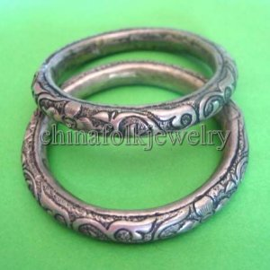 china character Miao silver bracelets pair