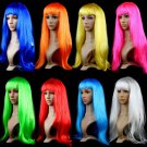 Anime Cosplay Wigs Hot Sale Multicolor Cheap Synthetic Hair Wig Cosplay 8 Colored Long Straight Wigs