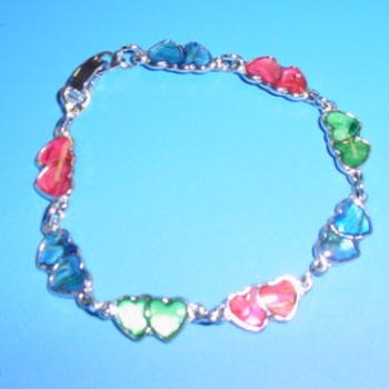 Double Heart Paua Shell Bracelet