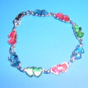 Double Heart Paua Shell Bracelet