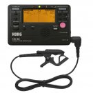 Korg TM50BK Instrument Tuner and Metronome w/ Clip On Microphone (Black Tuner w/ Black Mic)