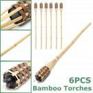 Set of 6 35'' Bamboo Tiki Torches Brown w/ Bamboo Cover Lamp Light Outdoor USA
