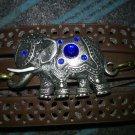 Silver elephant with blue stones wrap bracelet