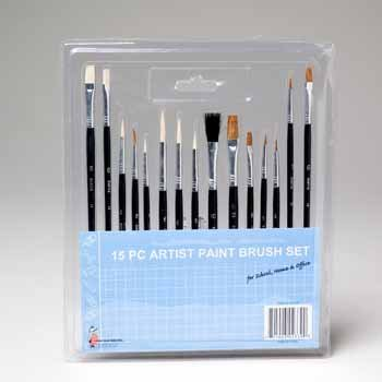 Wholesale Artist Paint Brush Asstorted, 15 Pieces