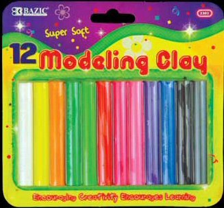 Wholesale BAZIC 12 Asst. Colors 200g / 7 oz. Modeling Clay