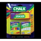 Wholesale BAZIC 12 Color & 12 White Chalk w/ Eraser Sets