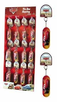 NEW! Wholesale Cars Tin Box Key Ring in Display