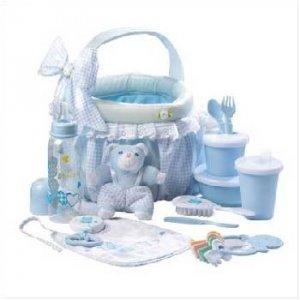 Wholesale Blue Baby Soft Basket Gift Set