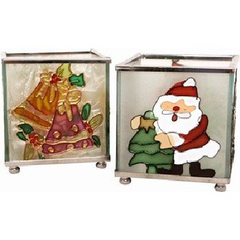 Wholesale Glass Christmas Candle Holder 2 Assorted Styles