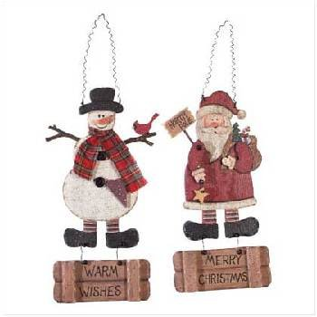 Wholesale Santa And Snowman Wall Plaque