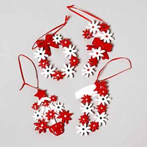 Wholesale Clay Shiny Red/White Floral Ornaments