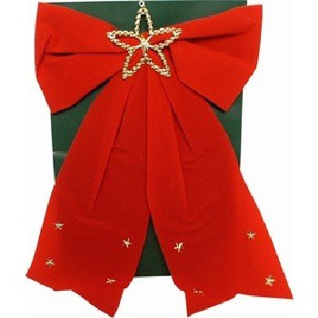 Wholesale Red Flocked Christmas Bow