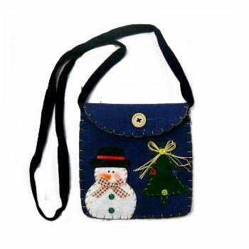 Wholesale Felt Snowman Shoulder Bag with Velcro Closure