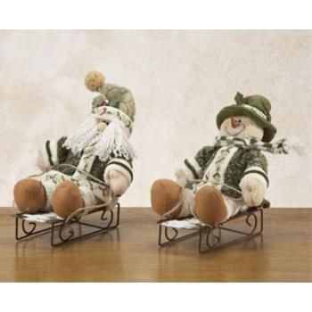 Wholesale Holly Snowman and Santa On Sleds