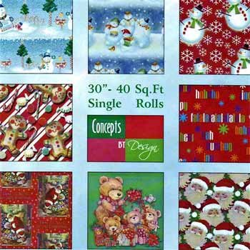 """Wholesale 30"""" Christmas Gift Wrap 14 Assorted Patterns"""
