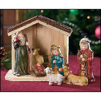 Wholesale 7 Piece Nativity With Stable