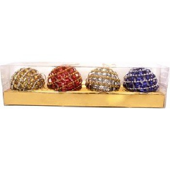 Wholesale Glitter Christmas Ornaments. 4 Pieces Assorted
