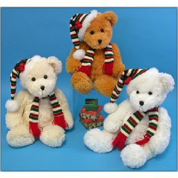 Wholesale Christmas bear with knit scarf