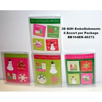 Wholesale Assorted 4-Pack 3D Gift Embellishment Stickers