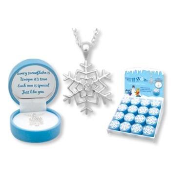 Wholesale Sparkling Snowflake Necklace w/ Keepsake Box