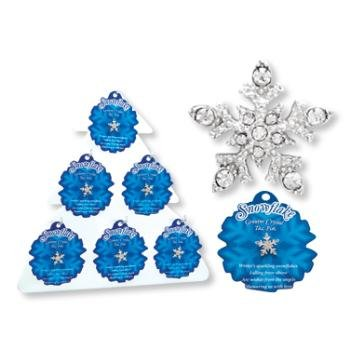 Wholesale Sparkling Crystal Snowflake Tac Pin